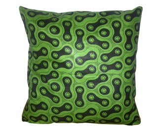 African Boho Cushion, Green Black Cushion, Dorm Room Decor, READY TO SHIP, Geometric Throw Pillow, Green Black Pillow, Detola and Geek