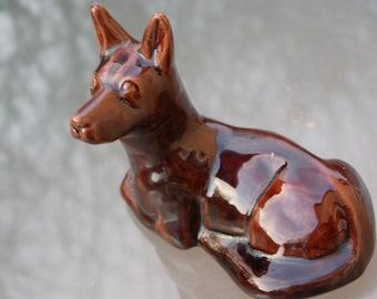 French vintage art deco ceramic sculpture German Shepherd  Dog Statue signed number brown ceramic animal