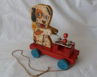 Vintage Fisher Price Merry Mutt Pull Toy, Fisher Price No. 473 Merry Mutt