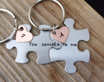 Long distance relationship gift custom puzzle piece key chains his and hers you complete me  gift for him gift for her jewelry zipper charm