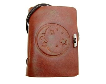 Leather book  - soft OX Moon & Stars Lion - A6 - 400 pages - diary of Vicky's World