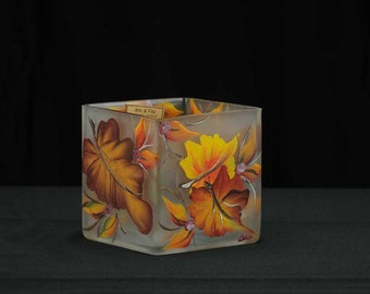 4x4 Handpainted Glass Cube Candle Holder / Fall Leaves