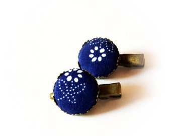 Hair clip, hungarian blue dye fabric, blue and white, fall fashion, hair pin,