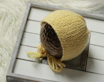 Knit Bonnet, Newborn Classic Baby Bonnet, Newborn Photo Prop, Yellow Newborn Hat, Knitted Hats, Newborn Knit Hat, Baby Knit Hat