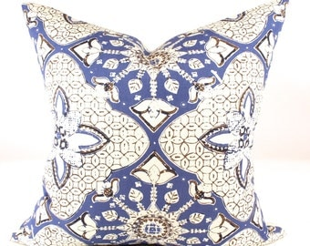 """Quadrille China Seas NEW BATIK Designer Pillow Cover in New Navy on Tint, Accent Pillow, Decorative Pillow, Toss Pillow  18"""", 20 sq."""