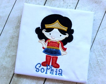 girls Wonder Woman shirt girl Super Hero shirt Wonder woman inspired birthday top clothing