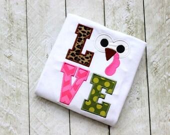 thanksgiving turkey shirt toddler girl turkey shirt turkey LOVE pink green leopard girls thanksgiving shirt clothing for children
