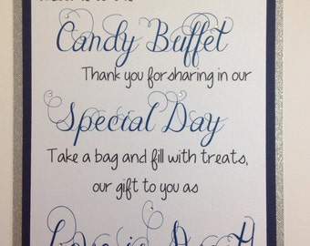 Welcome Candy Buffet Sign, Wedding Sign, Welcome Sign