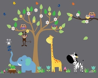Tree Wall Decal, Kids Tree Reusable WALL DECAL, Jungle Decal, N146