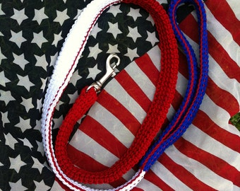 Patriotic Dog Leash for Big Dogs Red White Blue