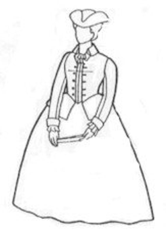 colonial hat template - rh151 1700 39 s colonial riding habit sewing pattern by