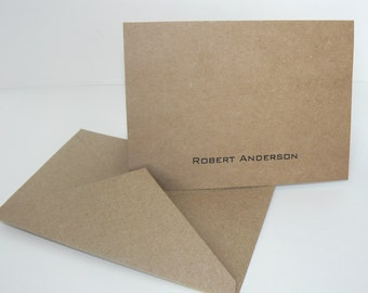 10 Personalized Folding Kraft Note Cards Thank You with Kraft envelopes Customized Masculine Neutral Simple Graduation