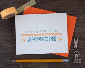 Thanks for Being Awesome Letterpress Greeting Card