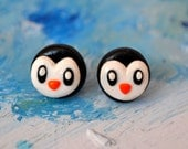 Penguin earrings, silver plated studs, animal jewelry, polymer clay.