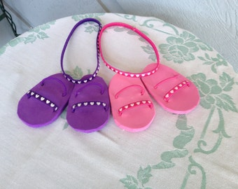 Matching doll sandals and headbands - American Girl doll sandals -18 inch doll headbands