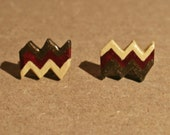 Chevron Post Earrings - Brown, Red and Cream - Red Shimmer - Chevron Polymer Clay