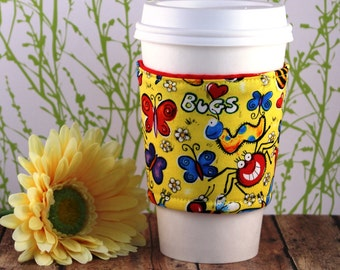 CLEARANCE / Fabric Coffee Cozy / Bright Bugs and Butterflies Coffee Cozy / Coffee Cozy / Tea Cozy