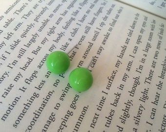 Lime Green Round Ball Earring Studs