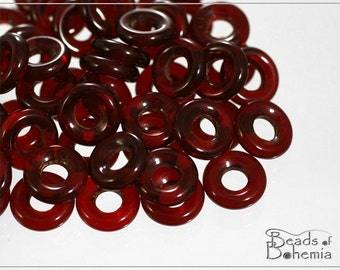 20 pcs Transparent Ruby Czech Glass Ring Beads 10 mm (8221)