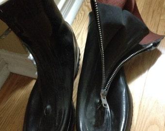 Black Rubber rain / gardening front zipper boots