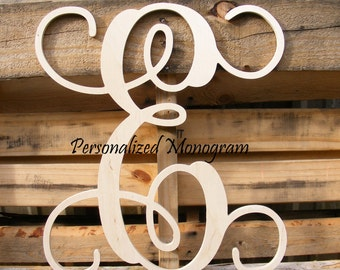 "14"" Wooden Monogram Single Letter Interlocking Script UNPAINTED"