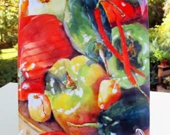 Famers Market Peppers art tile vegetable art