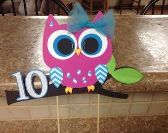 Owl  Birthday Cake Topper