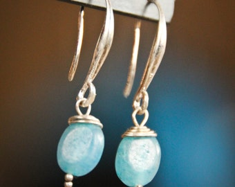 Light Blue Ovals With Wire Wrapping Earrings