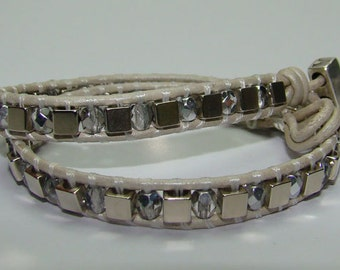 glass and metal leather bracelet