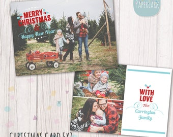 Christmas Card Template - Photoshop template - AC020 - INSTANT DOWNLOAD