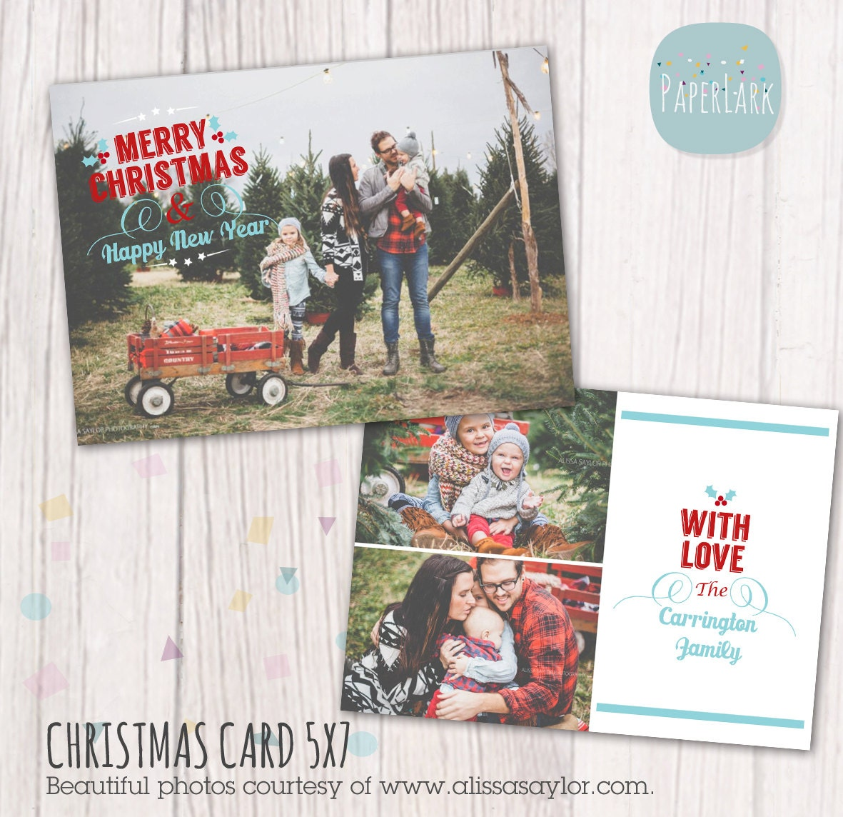 Christmas card template photoshop template by paperlarkdesigns for Photoshop christmas cards templates