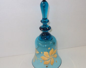 Blue Glass Bell with Gold handpainted Flowers