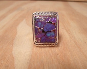 RING, Purple Turquoise sterling silver ring...