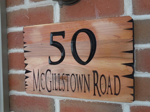 custom carved live edge wood house number street address. Black Bedroom Furniture Sets. Home Design Ideas