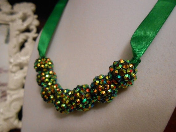 Green ribbon tie rhinstone beaded necklace by lascrafty on for Ribbon tie necklace jewelry