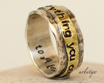 Personalized Ring of sterling silver and brass - Wedding Band - Men's / Women's Ring.. Custom Ring.. Couples Ring