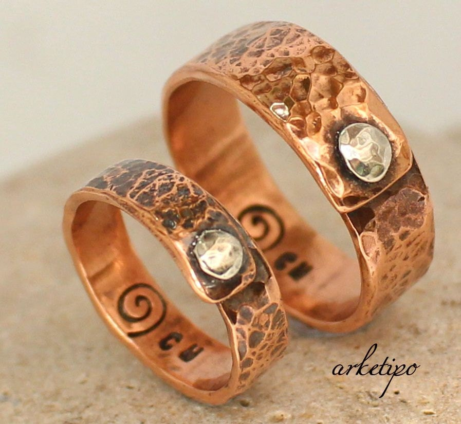 Couples Ring Copper Bands Set Wedding / Engagement