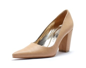 Nude Pointy Toe Custom Made Heels, Beige Pointy Toe Heels, , Closed Toe Wedding Heels, Custom Made Wedding Shoes