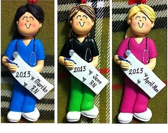 Personalized Female Nurse,Student,Nurse Graduate,Nurse Retirement Ornament/Magnet/CakeStand-Customize Scrub Colors,Hair Color & Skin Tone