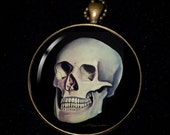 "Necklace of a Painting of mine of a human skull from ""life"" model"