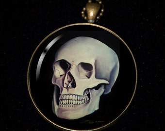 """Necklace of a Painting of mine of a human skull from """"life"""" model"""