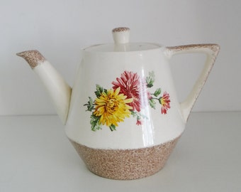 Vintage Teapot By Heatmaster With Floral Pattern Mid Century  Made in England Circa 1950's