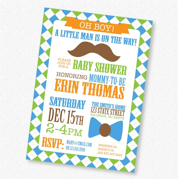 items similar to mustache and bow tie boy baby shower printable
