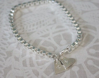Gorgeous x2 silver heart bracelet - made to order with any letters of your choice.