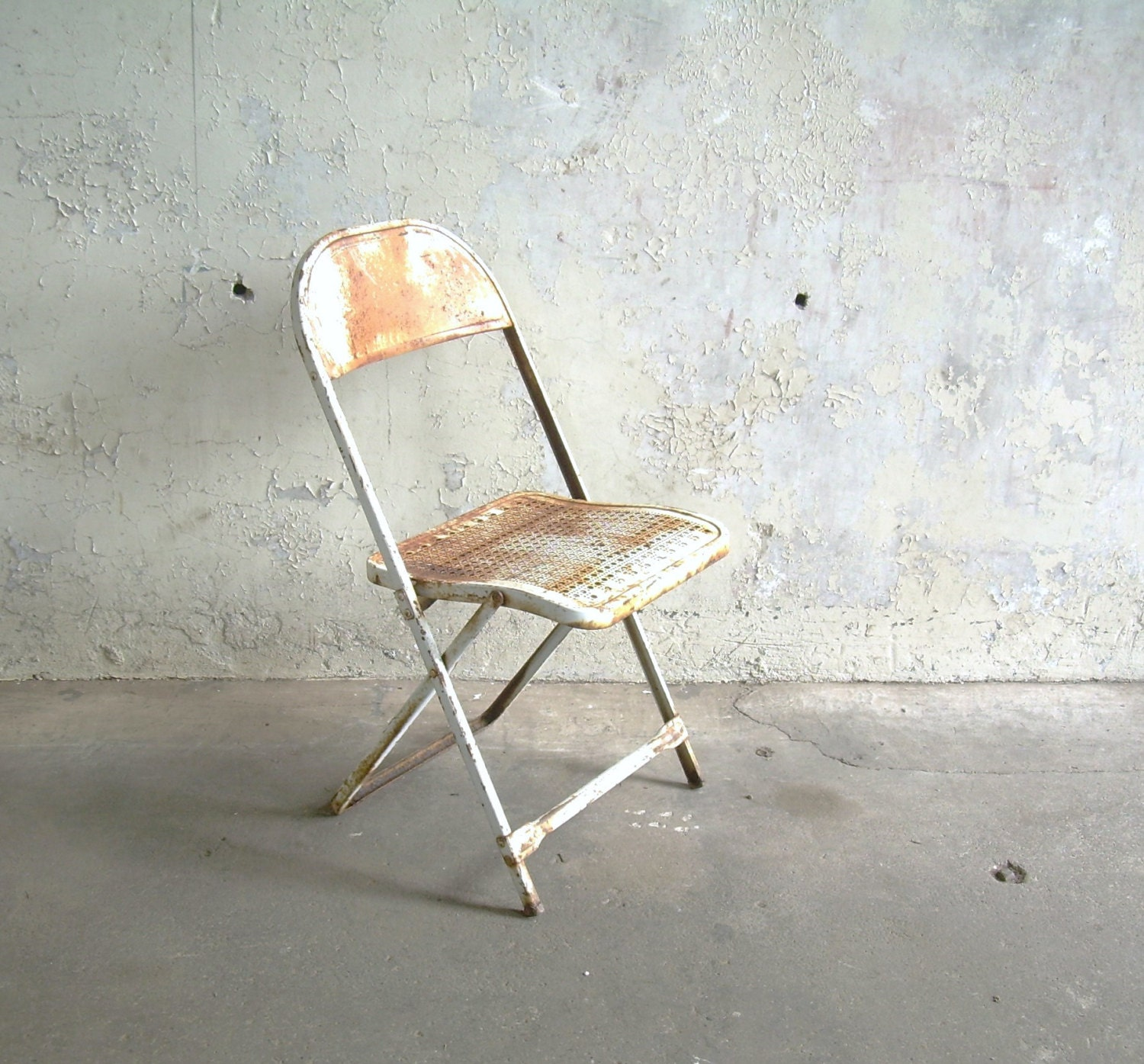 Vintage Metal Folding Chair White Rusty