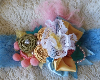 Yellow and Blue Rosette Headband by Caprice Colette