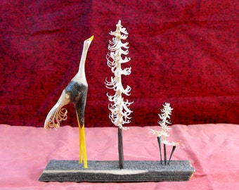 Carved Crane, Pine Trees, and Flowers, Wildlife Art