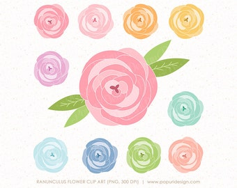 Flower Clip Art Ranunculus | Leaf | Leaves | Digital Clipart for Scrapbooking, Invitation, Card