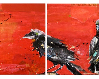Raven, print on canvas of a Kellie Day mixed media painting