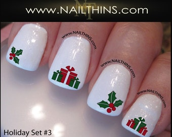 Christmas tree nail decals set 2 holiday tree nail design nail decals christmas set no 3 holiday nail wrap prinsesfo Image collections